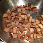Homemade garlic croutons from stale bread