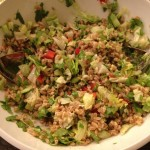 "A salad using some forgotten farro, along with lettuce and tomatoes from ""taco night"" earlier in the week"