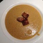 Pureed red lentil soup from lentils that had been in the pantry for while