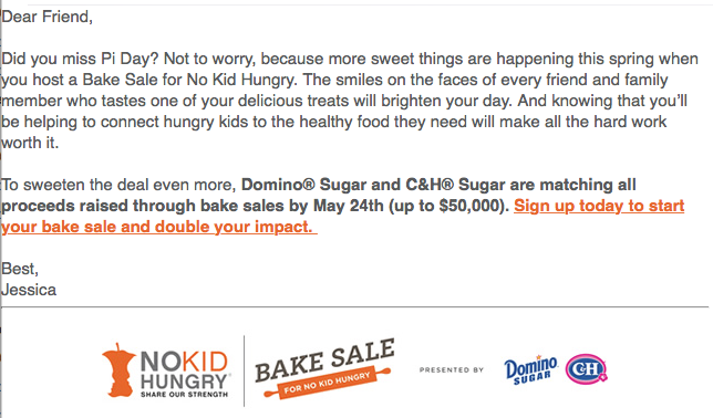 no kid hungry sugar bake sale